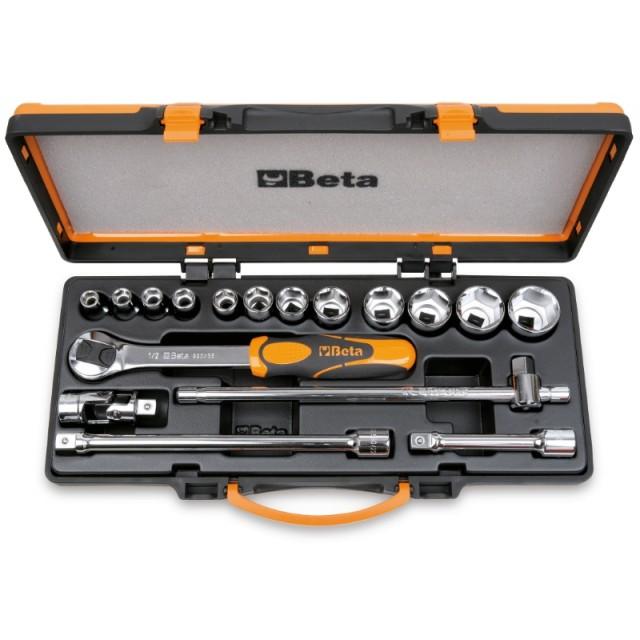 12 chiavi a bussola esagonali e 5 accessori in cassetta di lamiera - Beta 920.../C12...