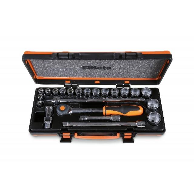 Coffret métallique avec plateau thermoformé rigide comprenant 1 cliquet avec 17 douilles 6 pans et 5 accessoires - Beta 920A/