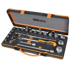 17 hatlapfejű dugókulcs és 5 tartozék készlet kemény hőformázott tálcában, lemezdobozban - Beta 920A/C17HR