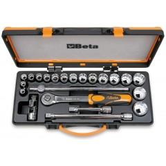 Assortimento di 17 chiavi a bussola poligonali e 5 accessori in cassetta di lamiera - Beta 920AS/C17X