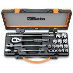 Assortimento di 16 chiavi a bussola poligonali e 5 accessori in cassetta di lamiera - Beta 920AS/MBM-C21