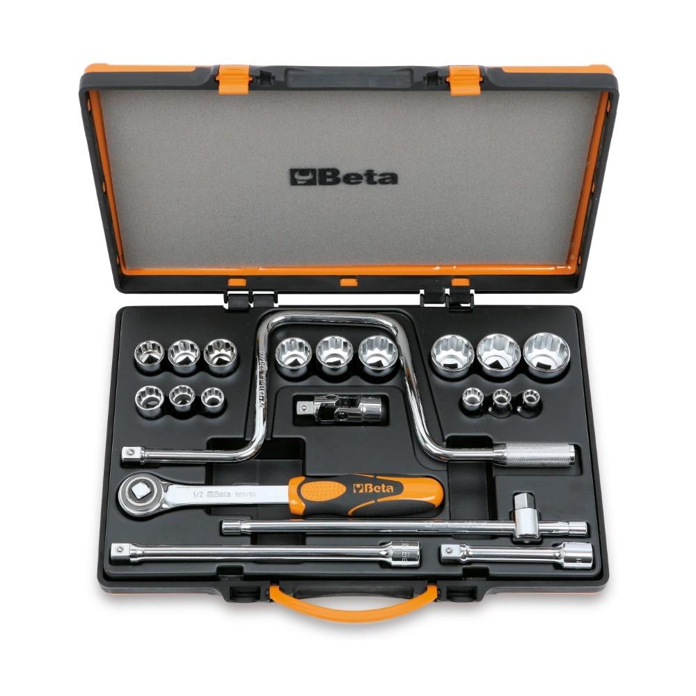 Assortimento di 15 chiavi a bussola poligonali e 6 accessori in cassetta di lamiera - Beta 920AS/C15