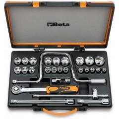 Assortimento di 21 chiavi a bussola esagonali e 6 accessori in cassetta di lamiera - Beta 920.../C21...