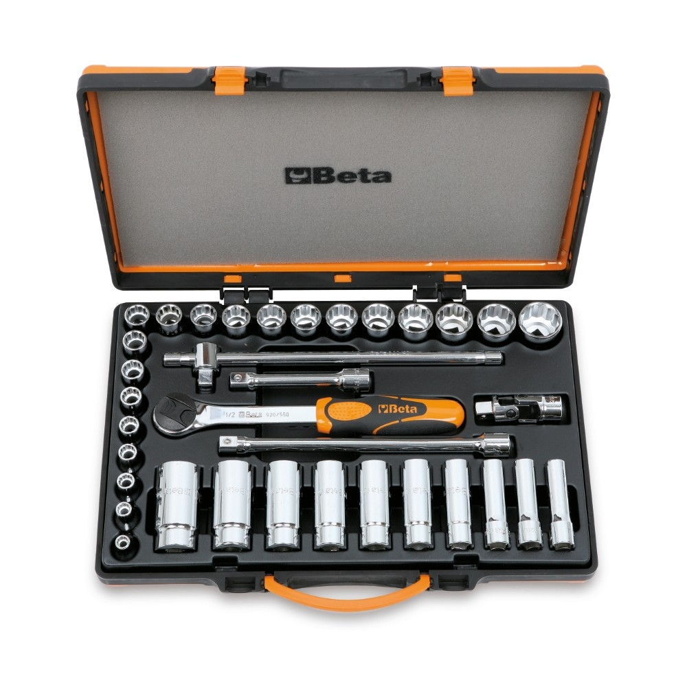 Assortimento di 30 chiavi a bussola poligonali e 5 accessori in cassetta di lamiera - Beta 920B/C30Q