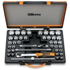 Assortimento di 37 chiavi a bussola poligonali e 5 accessori in cassetta di lamiera - Beta 920/C37