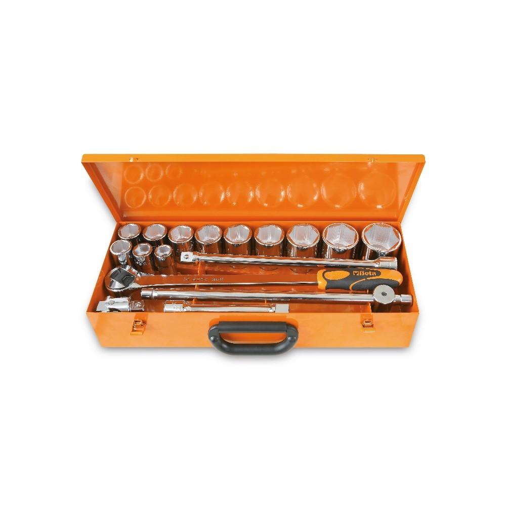 Assortimento di 12 chiavi a bussola esagonali e 5 accessori in cassetta di lamiera - Beta 928.../C12