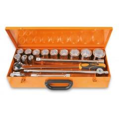Assortimento di 12 chiavi a bussola poligonali e 5 accessori in cassetta di lamiera - Beta 928B/C12
