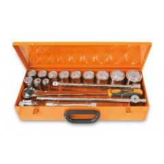 Assortimento di 12 chiavi a bussola esagonali e 5 accessori in cassetta di lamiera - Beta 928AS/C12