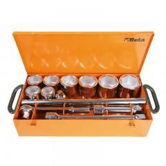 Assortimento di 8 chiavi a bussola esagonali e 5 accessori in cassetta di lamiera - Beta 929/C8