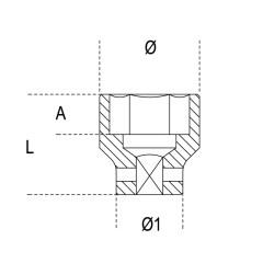 """Chiavi a bussola con attacco quadro femmina 1/2"""" bocca esagonale serie normale, fosfatate - Beta 720"""
