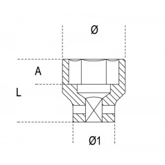"""Chiavi a bussola  con attacco quadro  femmina 1/2""""  bocca esagonale serie normale, fosfatate - Beta 720AS"""