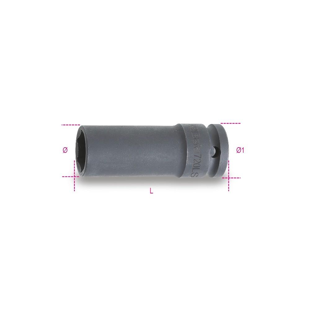 """Chiavi a bussola con attacco quadro femmina 1/2"""" bocca esagonale serie lunga sottile fosfatate - Beta 720LS"""
