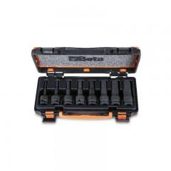 "Serie di chiavi a bussola maschio esagonale con quadro femmina 1/2"" fosfatate, in cassetta di lamiera - Beta 720ME/C8"