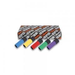 5 darabos gépi dugókulcs sorozat kerékanyákhoz színes polimer betétekkel - Beta 720LC/S5