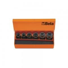 """6 chiavi a bussola con attacco quadro femmina 1/2"""" fosfatate, in cassetta di lamiera - Beta 720/C6"""