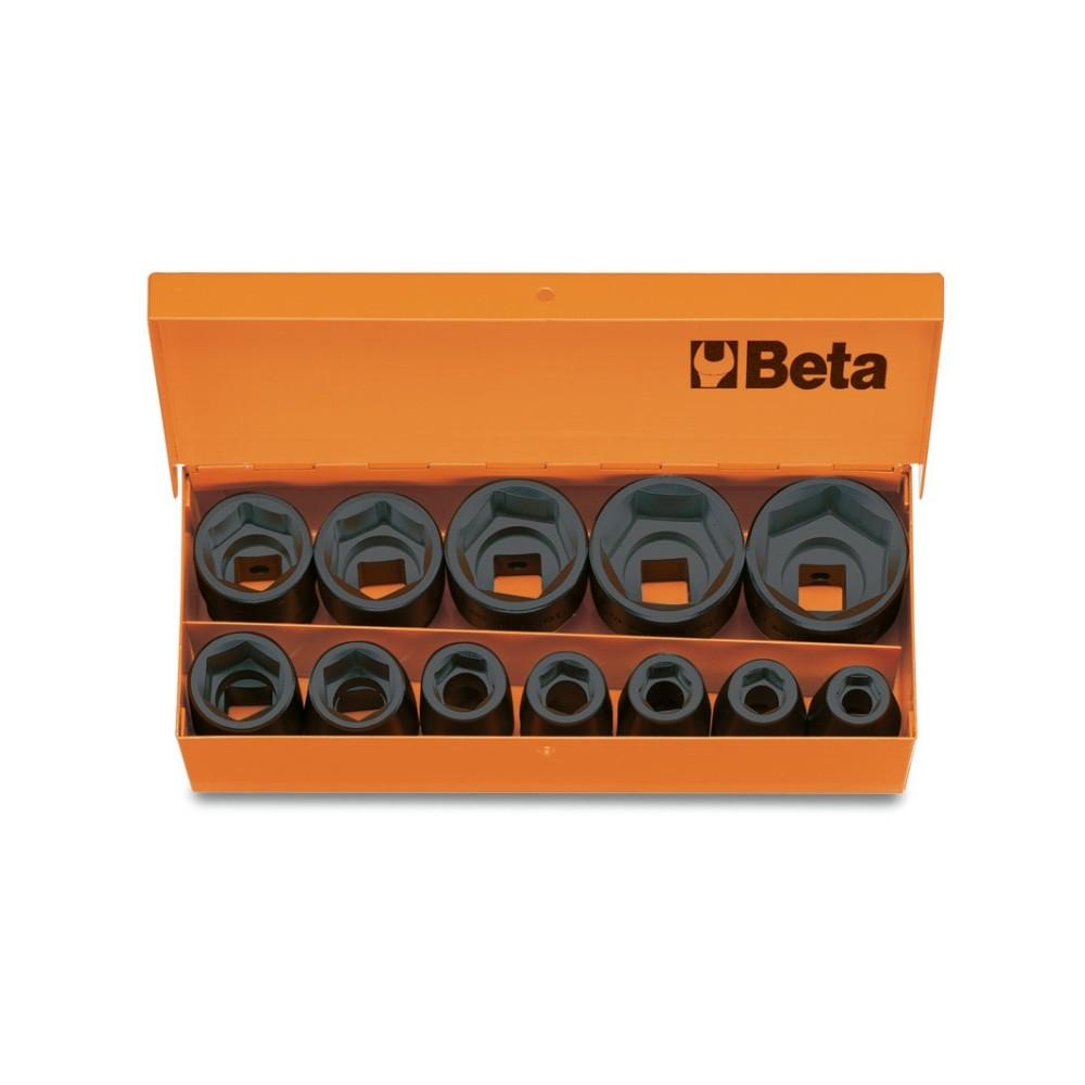 "Serie di 12 chiavi a bussola  con attacco quadro  femmina 1/2"" fosfatate, in cassetta di lamiera - Beta 720/C12"