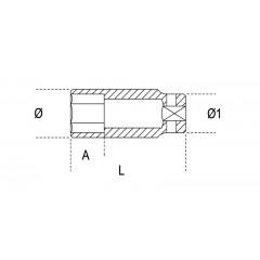 """Chiavi a bussola con attacco quadro femmina 1"""" bocca esagonale serie lunga, fosfatate - Beta 729L"""