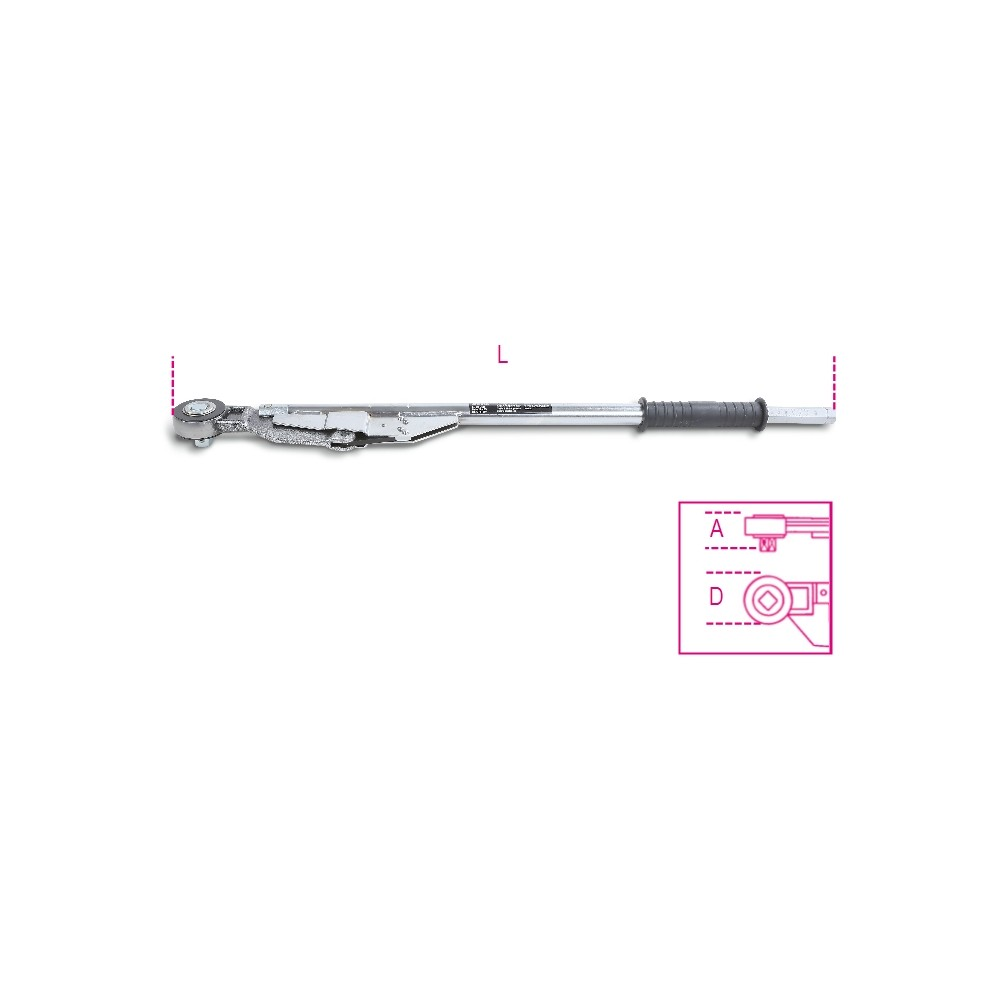 Clé dynamométrique à cassure avec cliquet réversible à glissière Utilisable pour serrage droite ou gauche Précision de serrage