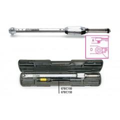 Clé dynamométrique à déclenchement avec cliquet réversible à glissière utilisable pour serrage droite ou gauche, précision de
