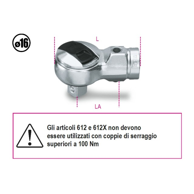 Cricchetti reversibili per barre dinamometriche - Beta 612 ÷ 614