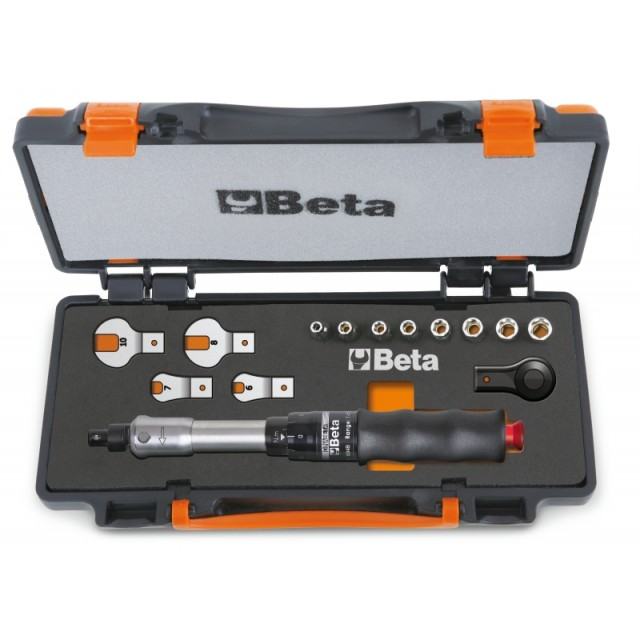 Clé dynamométrique 604B/10, 1 cliquet réversible, 8 douilles 6 pans et 4 clés à fourche - Beta 671B/C10