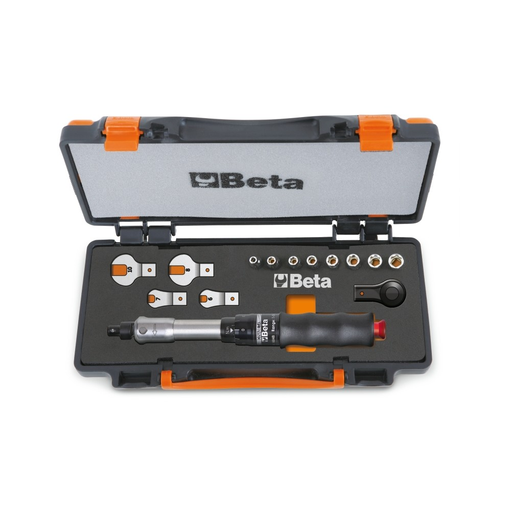 Assortment of 1 torque bar item 604B/10, 1 reversible ratchet, 8 hexagon sockets and 4 open jaw wrenches in sheet metal case
