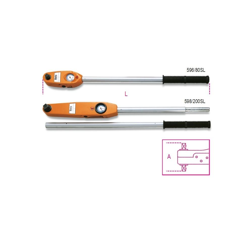 Chiavi dinamometriche a lettura diretta adatte a serraggi destrorsi e sinistrorsi precisione di serraggio ± 4% - Beta 596 - 598