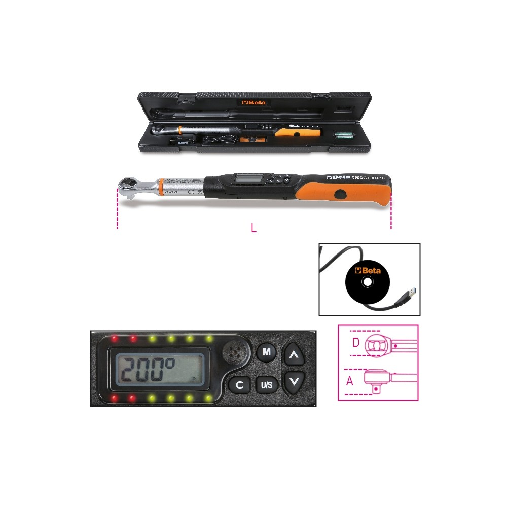 Electronic torque wrench, torque and angle readout, with reversible ratchet, right-hand (accuracy: ±2%) and left-hand (accuracy