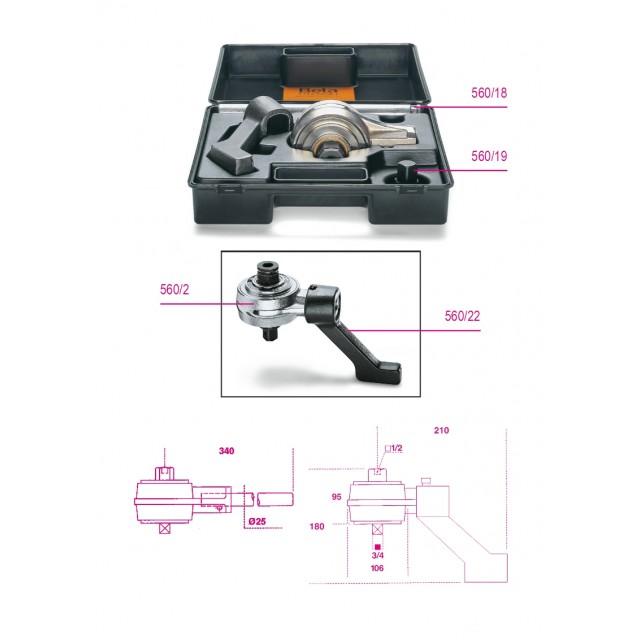 Moltiplicatore di coppia destrorso/sinistrorso e accessori rapporto 5: 1  in cassetta di plastica - Beta 560/C2