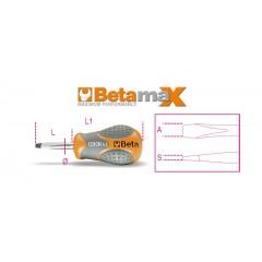 Giravite per viti a testa con intaglio, tipo cortissimo cromati punta nera - Beta 1290N