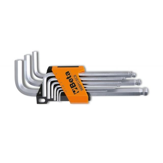 Serie di 9 chiavi maschio esagonale piegate con un'estremità sferica - Beta 96BPC/SC9