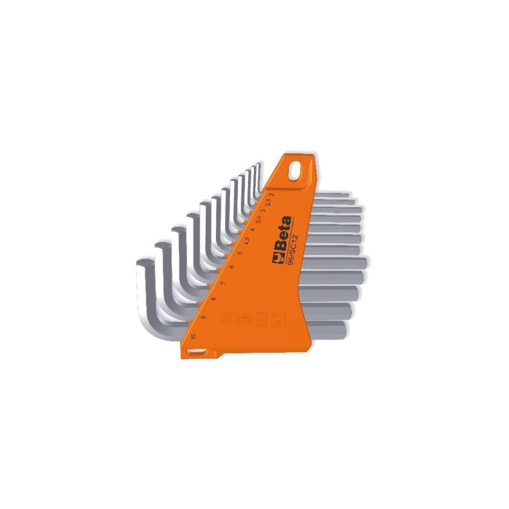 Serie di 12 chiavi maschio esagonale piegate (art. 96) con supporto - Beta 96/SC12