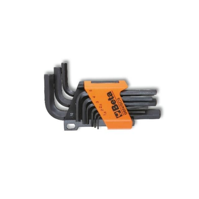 Serie di 9 chiavi maschio esagonale piegate (art. 96N) con supporto - Beta 96N/SC9