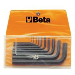 Serie di 10 chiavi maschio esagonale piegate (Brugola) in busta - Beta 96N/B