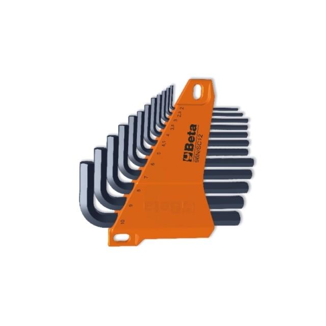 Serie di 12 chiavi maschio esagonale piegate (art. 96N) con supporto - Beta 96N/SC12