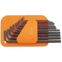 Serie di 12 chiavi maschio esagonale piegate tipo lungo (art. 96L) con supporto - Beta 96L/SC12