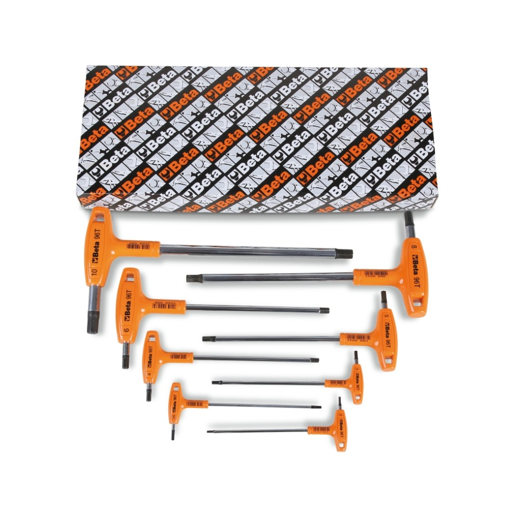 Serie di 8 chiavi maschio esagonale piegate con impugnatura di manovra (art. 96T) - Beta 96T/S