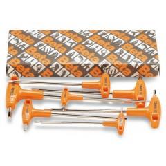 Serie di chiavi maschio esagonale piegate con impugnatura di manovra cromate - Beta 96T/S