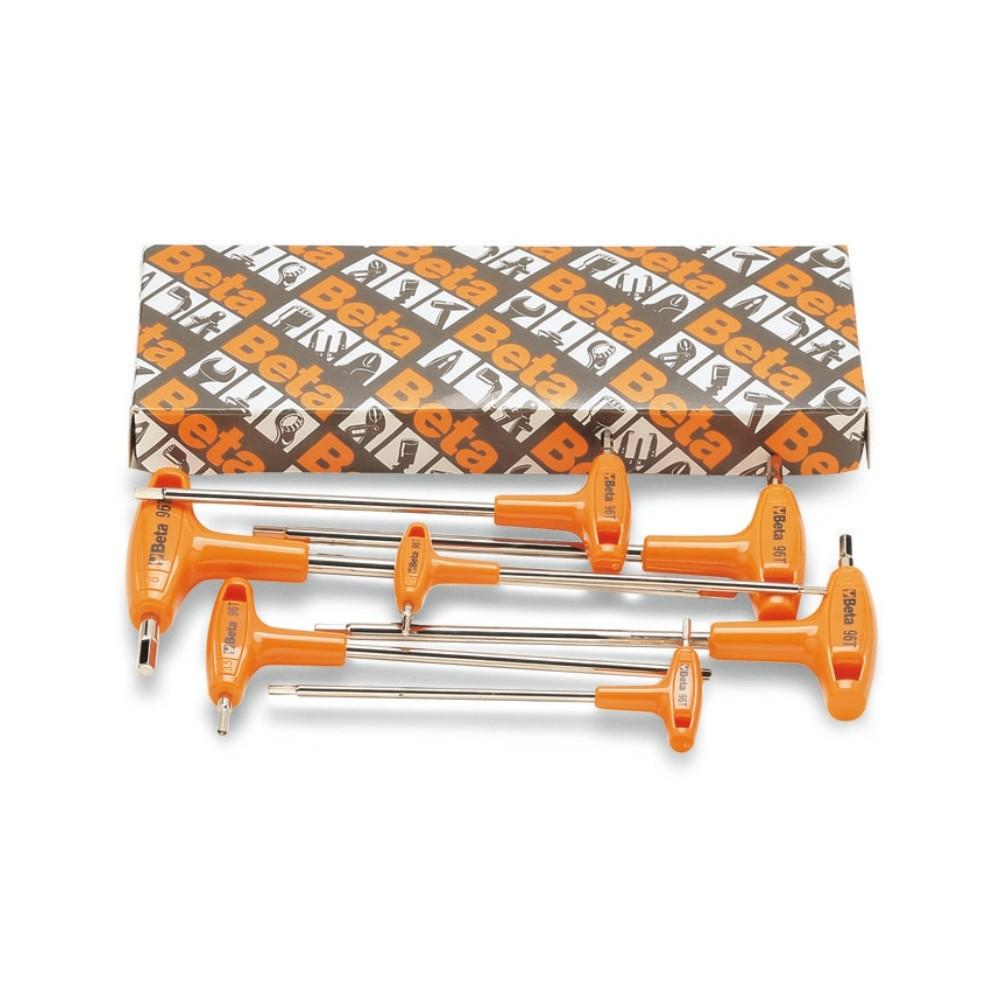 Serie di 6 chiavi maschio esagonale piegate con impugnatura di manovra (art. 96T) - Beta 96T/S