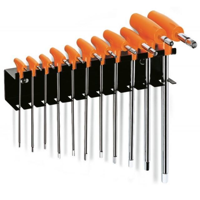 Serie di 11 chiavi maschio esagonale piegate con impugnatura di manovra (art. 96T) con supporto - Beta 96T/SP