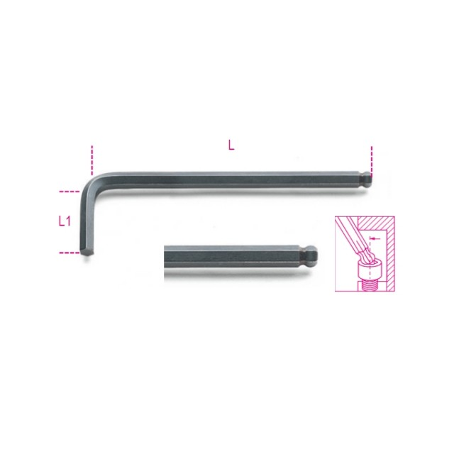 Ball head offset hexagon key wrenches burnished - Beta 96BP