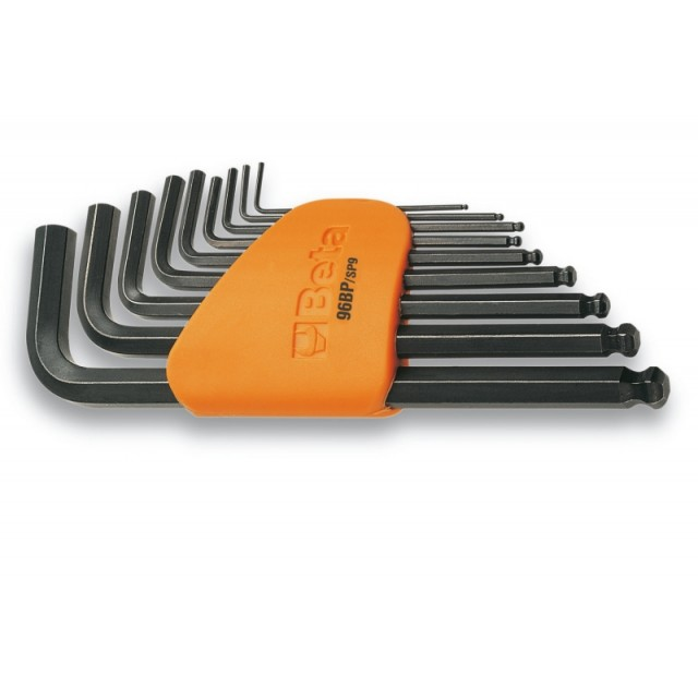Serie di 9 chiavi maschio esagonale piegate con estremità sferica (art. 96BP) con supporto - Beta 96BP/SC9
