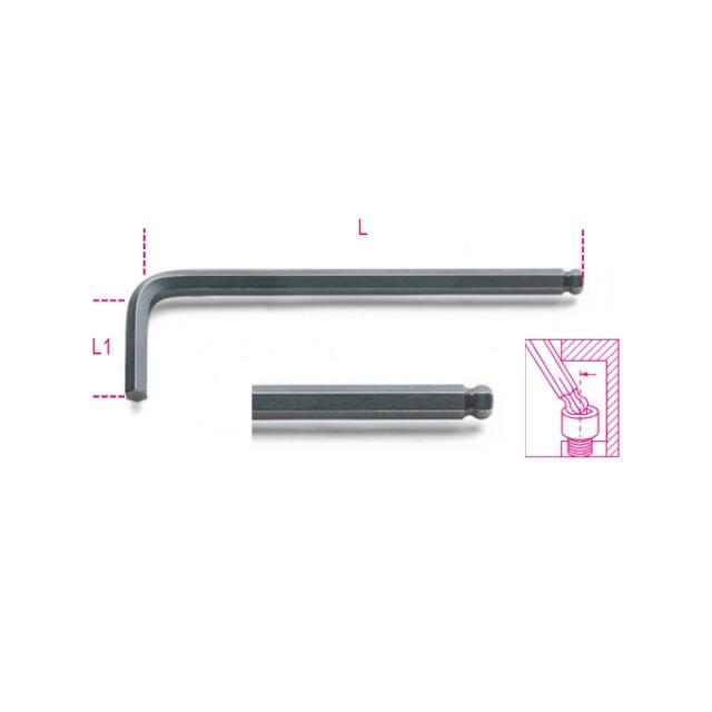 Hajlított gömbfejű imbuszkulcs, barnított - Beta 96BP/AS