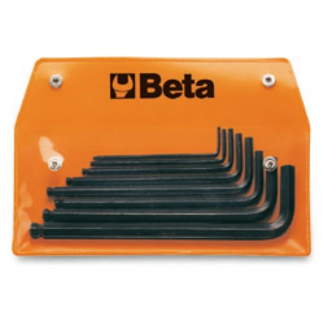 Serie di 8 chiavi maschio esagonale piegate con estremità sferica (art. 96BP/AS), in busta - Beta 96BP/ASB
