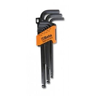 Serie di 9 chiavi maschio esagonale piegate con estremità sferica - Beta 96BP/AS-SC9