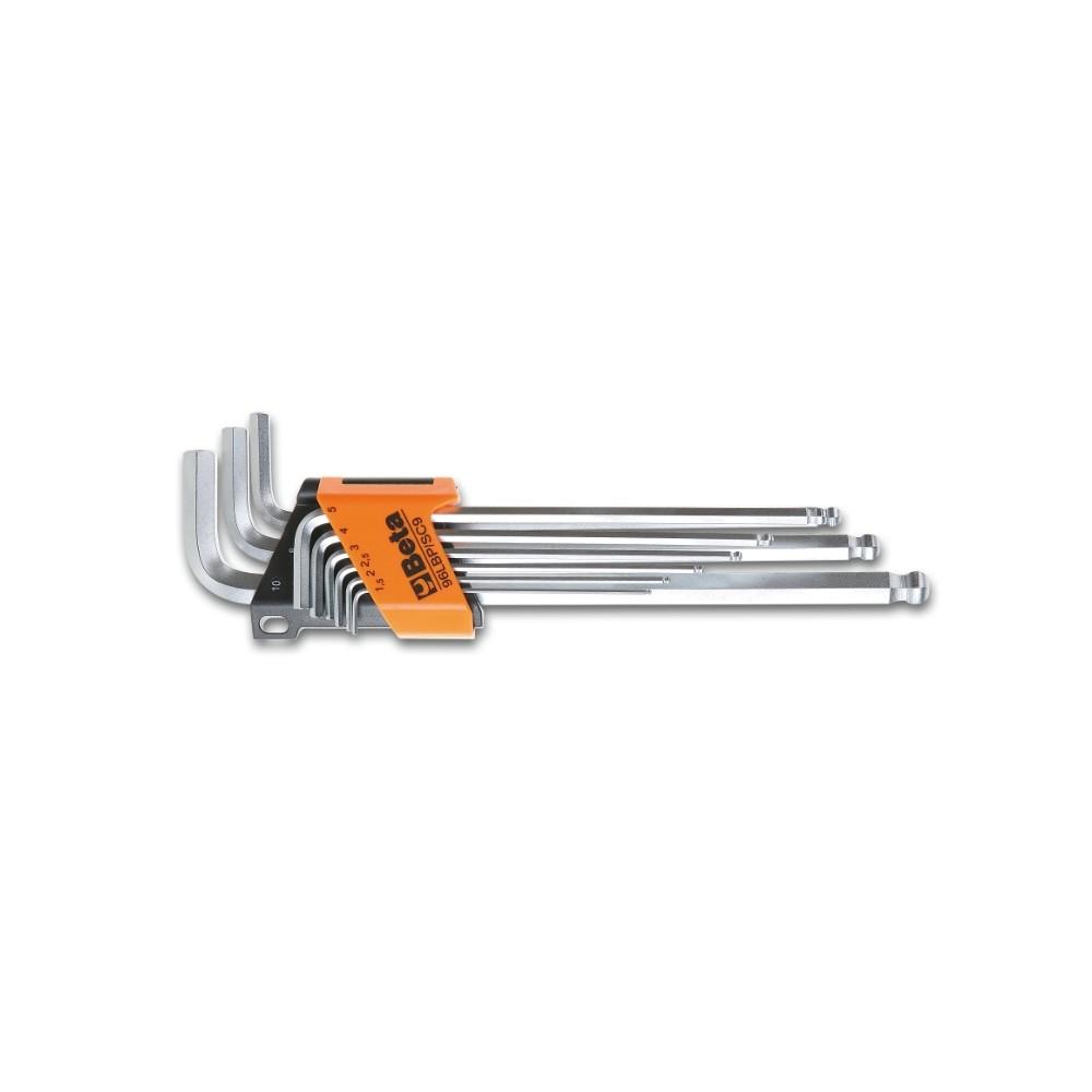 Serie di 9 chiavi maschio esagonale piegate con un'estremità sferica, modello extra lungo - Beta 96LBP/SC9