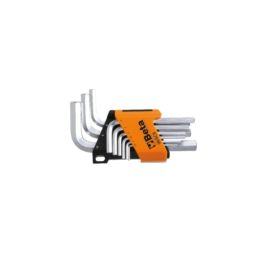 Serie di 9 chiavi maschio esagonale piegate cromate - Beta 96C-AS/SC9