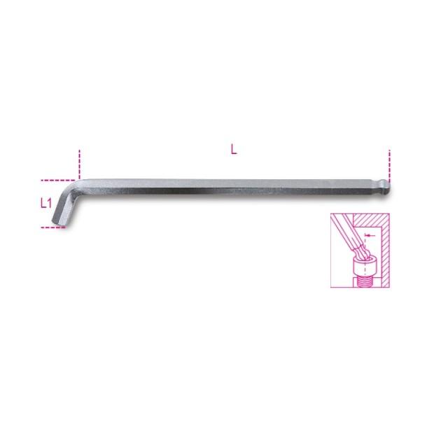 Clé mâle 6 pans coudée à 110° à tête sphérique, modèle côté extra court - Beta 96BPA