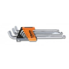 Komplet 9 kluczy trzpieniowych kątowych z końcówką kulistą, 110°, z jednym ramieniem bardzo krótkim - Beta 96BPA/SC9