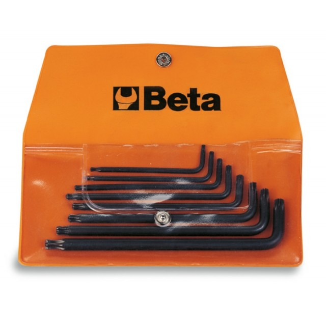 Serie di 8 chiavi maschio piegate con un'estremità sferica per viti con impronta Torx (art. 97BTX) in busta - Beta 97BTX/B